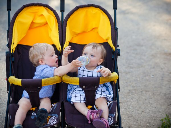 61898688 – baby twins boy and girl in pram