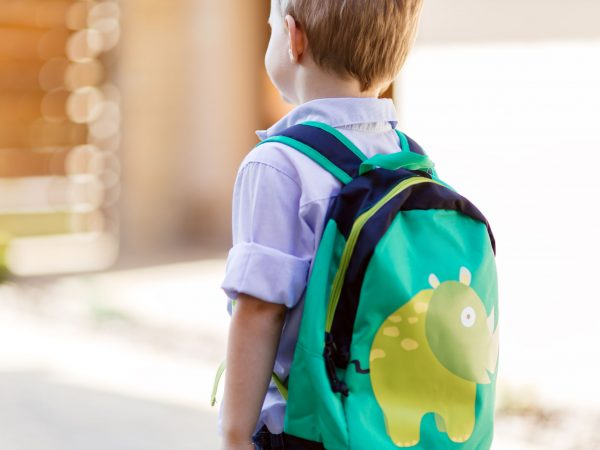 66304224 – child leaving home to his first day of kindergarten